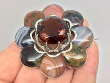 VERY LARGE ANTIQUE VICTORIAN SCOTTISH AGATE CITRINE SILVER FLOWER PEBBLE BROOCH