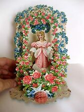 1920s Pull Down Pop Out Valentine's Day Card Lady in Pink in Garden