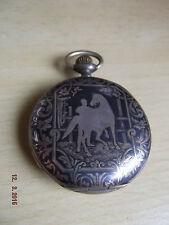 [19] Alte Taschenuhr pocket watch Silber 800 Rennpferd Jockey Huguenin Freres