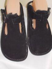 Alegria Women's T-Strap Clogs Faux Fur Classic Suede Black Size 37  US 7 7.5