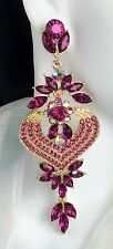 "4"" Long Gold Pink Crystal Rhinestone Earrings, Drag Queen, Prom, Pageant, Bridal"
