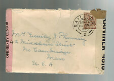 1942 Gaile Ireland Dual Censored Cover to USA with letter contents