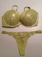 Victoria's Secret Very Sexy Push Up Bra Panty Set NWT 36C,M Thong Yellow