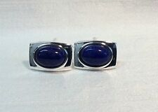 Men's LAPIS LAZULI rectangular Cufflinks, Silver finish.