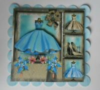 PACK 2 BLUE 1950'S BOUTIQUE DRESS EMBELLISHMENT TOPPERS  FOR CARDS & CRAFTS