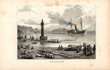 Stampa antica PALLANZA sul Lago Maggiore Battello a vapore barche 1891 Old print