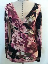 New Vintage 80's womens top crossover sexy floral black pink bodycon size S M