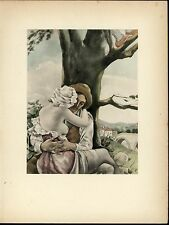 Lovers Embracing Under a Tree Nudity Beauty nice 1937 Art Deco Erotica print