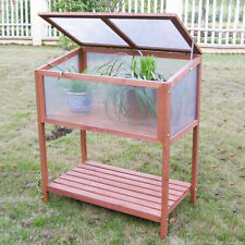 Garden Portable Wooden Cold Frame Greenhouse Raised Flower Planter Protection