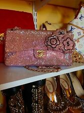 100% Authentic 3D Light Pink Swarovski Encrusted Chanel Medium Single Flap Bag