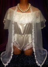 Vintage Nylon Frilly Sheer White Mesh Lace Bridal Teddy Chiffon Robe S