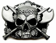 Skull Belt Buckle Fully 3D Skull & Axes Gothic Heavy Authentic Pagan Product