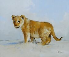 Original Oil painting - wildlife art - lion cub - portrait  - by j payne