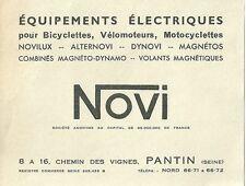 Publicité cyclisme vélo cycling bicyclette bicycle industrie moto NOVI 1949
