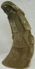 "7"" VINTAGE HAND CARVED ETHNIC ESKIMO WOMAN WITH CHILD HORN TAXIDERMY"