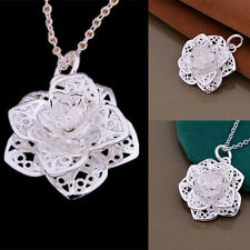Women Silver Heart Flower Pendant Necklace Chain Jewelry NEW Gift For Girl