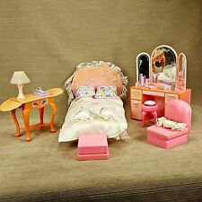 Barbie Bedroom Play Set Dresser Mirror Desk Lamp Stool Pink Lace Pillows Mattel