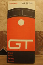 GRAND TRUNK RAILWAY PUBLIC TIMETABLE OCTOBER 25,1964--NEAR MINT CONDITION!!