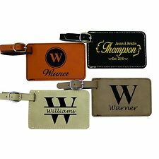 Custom Leather Luggage Tags - Engraved Monogrammed Personalized