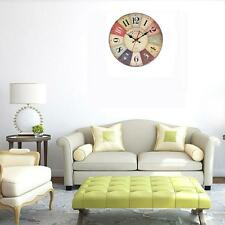 Antique Vintage Style Wooden Round Wall Clock Chic Home Decor Art Works Watches