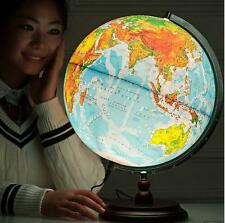 Rotating LED Antique Style World Globe Map Table Lamp light Wood Base 32cm XT
