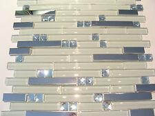 """""""white diamant"""" Glasmosaik Edelstahl Mosaik Metall Fliese silber weiss klarglas"""