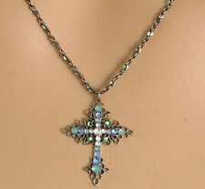 NEW ANNE KOPLIK  FILIGREE CRYSTAL CROSS NECKLACE ST/ LIGHT BLUE