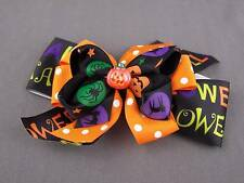 Orange Black halloween bow pumpkin ribbon barrette hair clip alligator claw