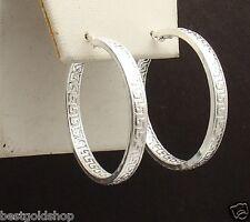 """1 3/8"""" Inside Out Greek Key Hoop Earrings Real 925 Sterling Silver 6.8gr 35mm"""