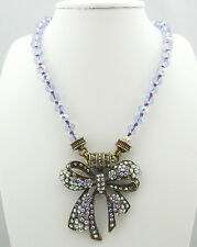 KIRKS FOLLY TIE THE KNOT BOW DAZZLED MAGNETIC INTERCHANGEABLE NECKLACE ~ NEW
