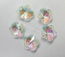 5 New Glass Crystal AB Faceted Flower Beads 13mm Diameter Bead Top Hole GB884