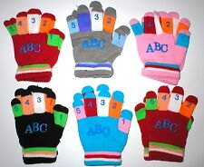 WHOLESALE LOT 30 CHILDRENS KIDS ABC WINTER STRETCH GLOVES GIFTS CHARITY GIVEAWAY