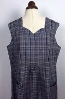Antique 40s French Checked Work Wear Chore Dress Apron Deadstock Vtg Preppy