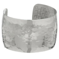Metro Jewelry Stainless Steel Plain Hammer Wide Cuff Bangle