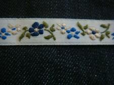 wholesale 50 yards off white blue floral Jacquard ribbon trim 7/16 SHIP FROM USA