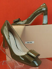 NIB MIU MIU PRADA PATENT CLAY PASTEL LEATHER BOW SCULPTURED HEEL PUMPS 38.5 8