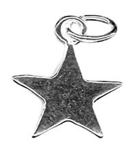 1 STERLING SILVER 925 SHINY STAR CHARM WITH OPEN OVAL JUMP RING, 10 X 10 MM