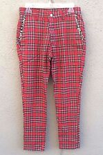 DOGPILE Red Plaid Punk Rock Pants Leopard Trim Pockets Tapered Men's Size 30