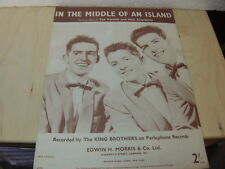 King Brothers – In The Middle of an Island 1957 UK Music Sheet