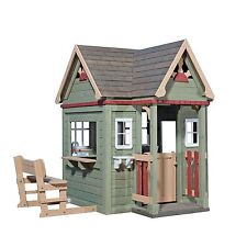 Pre-Stained 100% Natural Cedar Wood Outdoor VICTORIAN INN Playhouse w/ Extras