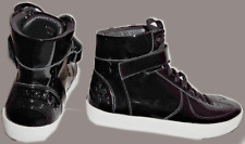 $498 BURBERRY Black Patent Leather High Top LOGO Sneakers Flat Shoes  41 -10