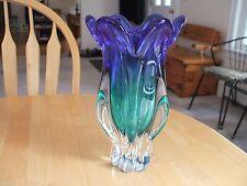 CHRIBSKA CZECH ART GLASS BLUE GREEN VASE HOSPODKA DESIGN