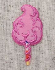 Iron On Embroidered Applique Patch Pink Cotton Candy/Junk Food Dessert