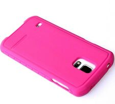 "For Samsung Galaxy S5 - HARD RUBBER TPU BODY GLOVE ""SUIT UP"" SKIN CASE HOT PINK"