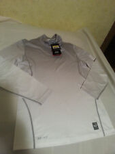 NIKE PRO COMBAT TURTLE NECK FITTED GRAY  WHITE SMALL S LONG SLEEVE HYPER WARM
