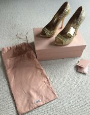 Miu Miu Gold Glitter Open Toe Shoes Size 6 Eu 39