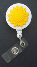 SUNFLOWER Retractable Badge Reel ID Holder Card Key Ring Chain Sunshine Yellow