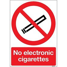 No Electronic Cigarettes Safety A5 Sign on 1mm Rigid PVC Plastic by stika.co