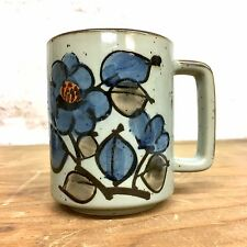 Stoneware Coffee Cup Mug Hand painted BLUE FLOWER Gorgeous