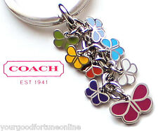 NEW RARE Coach Butterfly Enamel Mix Purse Charm Key Chain Ring Purse Charm 1621